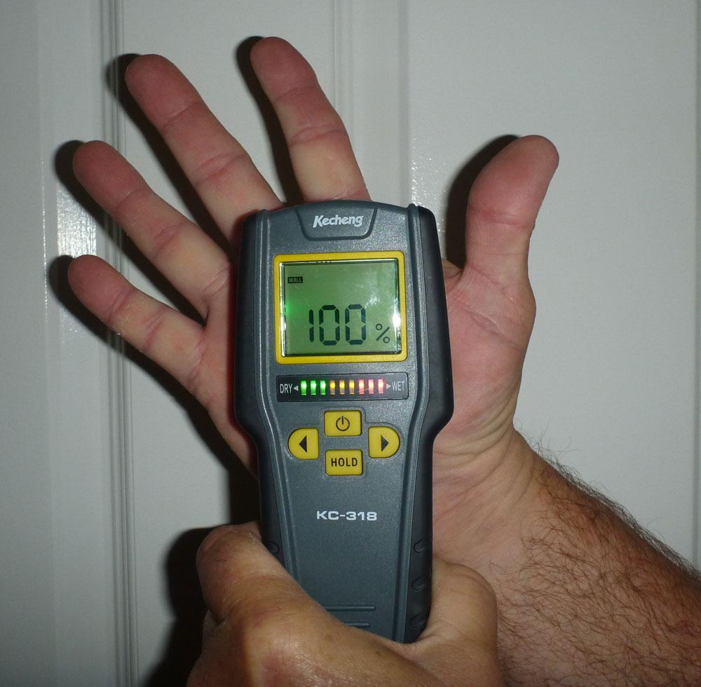 Moisture Meter reading 100% moisture in a hand